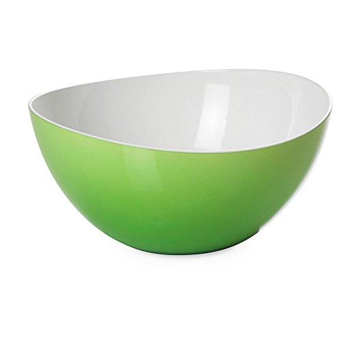 Omada Design Salatschüssel für Pasta und Salat, Schale aus zweifarbigem beständigem Kunststoff, Made in Italy, Trendy Linie, 26cm Durchmesser, 3,5lt Kapazität, geeignet für Geschirrspüler, hellgrüne