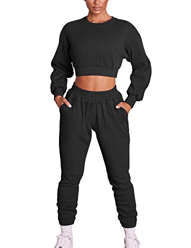 Mizoci Women's 2 Piece Outfits Workout Tracksuit Long Sleeve Crop Top Jogger Pants Set,Medium,Black