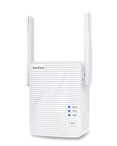 BrosTrend 1200Mbps WiFi Range Extender Signal Booster Repeater, Add Coverage up to 1200 sq.ft. in Your House, Extend 2.4GHz & 5GHz Wi-Fi, Easy Setup (Renewed)