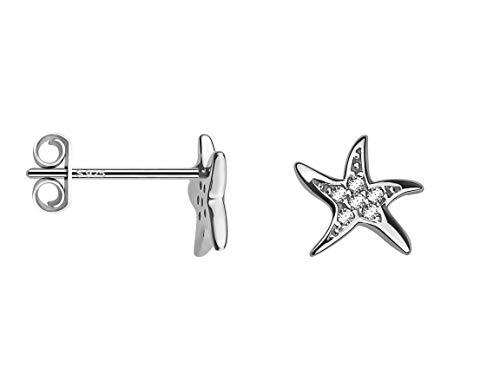 SOFIA MILANI - Pendientes para Mujeres en Plata de Ley 925 - con Circonitas - Pendientes de Estrella de Mar - 20474