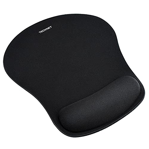 TECKNET Ergonomic Gaming Office Mouse Pad Mat Mousepad with Rest Wrist Support - Non-Slip Rubber Base - Special Textured Surface - Black