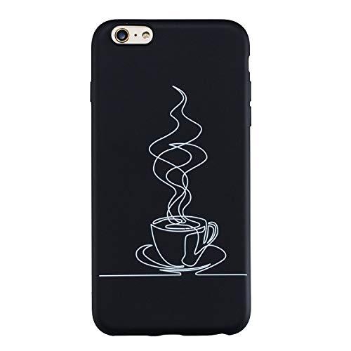 Yobby Silikon Hülle für iPhone 6 Plus,iPhone 6S Plus Matt Schwarz Handyhülle mit Süß Muster Slim Weich Gummi Gel Schale,Coole Mode Stoßfest Rückseite Schutzhülle-Kaffee