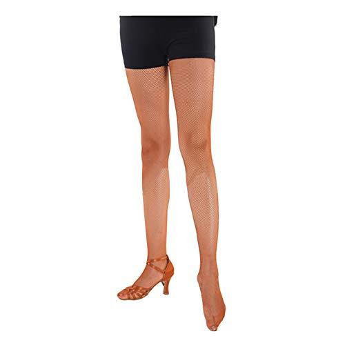 Haodasi Damen Hoch Taillierte Netzstrümpfe Latein Tanz Netz Strumpfhosen Netzstrumpfhosen Strümpfe Karamellfarbe