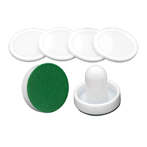 KAWN® 2PCS PVC Air Hockey Pushers and 4PCS Pucks Replacement for Game Tables White