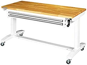 Husky 52 in. Adjustable Height Work Table with 2-Drawers in White
