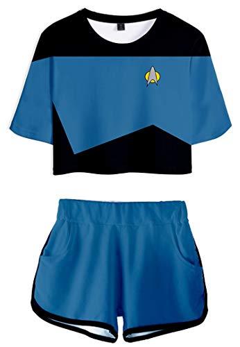 Silver Basic Camiseta y Pantalones Cortos Impresos en 3D Unisex de Picard Disfraz de Kirk Spock Nemesis de la Prxima Generacin XL,7567Spock Costume-2
