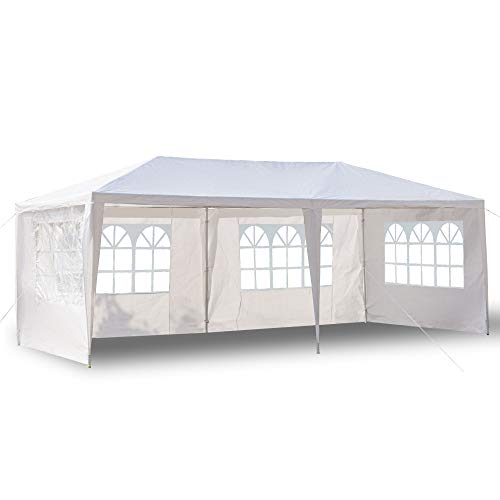 HanOBC Cenador para exteriores de 3 x 6 m, toldo para fiestas, bodas, exteriores y exteriores, con 4 paredes laterales desmontables, color blanco