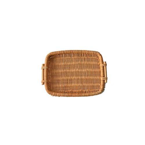 Eiermand, Landelijke Stijl Opslag Weave Belemmert Scandinavisch Huis Decoratie Voor Picknick Voedsel Fruit Brood (Color : 25.5×20.7cm)