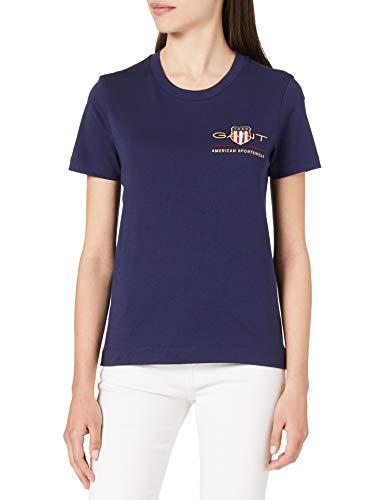 GANT Archive Shield SS T-Shirt Camiseta, Azul Noche, XS para Mujer