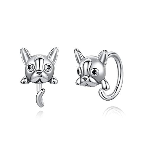 Pendientes de flor de panda de perro gato Pendientes de aro de plata esterlina Pendientes de botón hipoalergénicos para mujer (Perro)