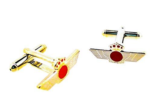 Gemelolandia | Gemelos para Camisa Emblema Ejército Español del Aire Plateado 22x10mm Gemelos Originales Para Camisas | Para Hombres y Niños | Regalos Para Bodas, Comuniones y Otros Eventos