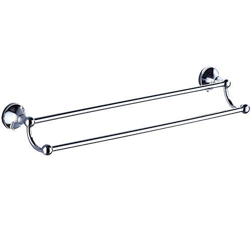 Home Decor Accessories Towel rack wall mounted simple chrome double towel rack hanging towel bar double pole bathroom