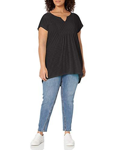 Just My Size Women's Plus-Size Slub Crochet Bib Tunic, Black, 3X