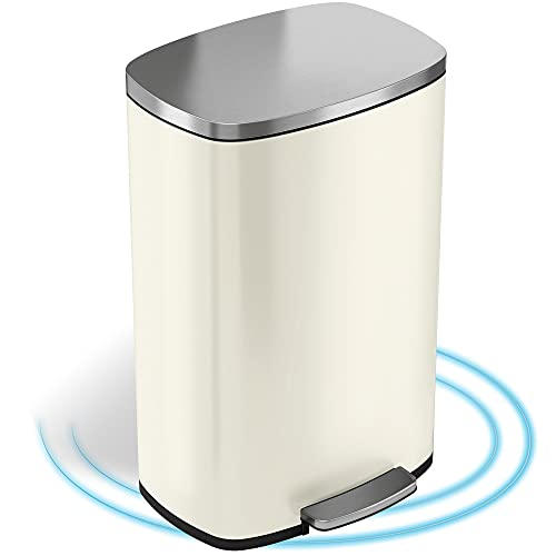 Product Image of the iTouchless SoftStep 13.2 Gallon Kitchen Step Trash Can with Odor Filter, 50 Liter Ivory White Stainless Steel Pedal Garbage Bin for Home, Office, Silent and Gentle Lid Open and Close, 13 Gal