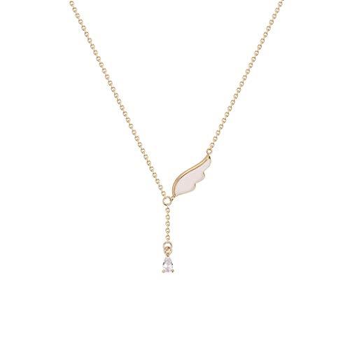 ZANZAN Collares con colgante de alas de ángel para mujer, collar de cobre chapado en oro con colgante de nácar con diamantes de imitación, gran regalo para hombres/mujeres