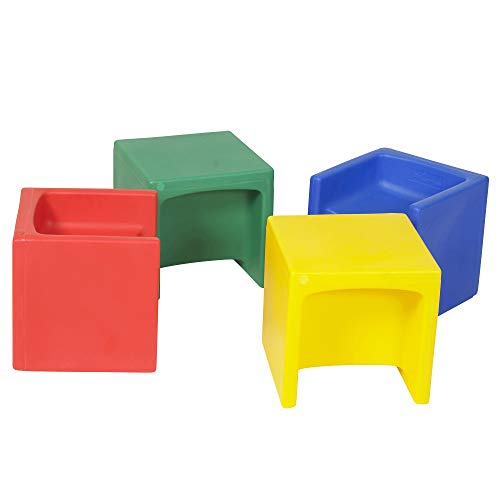 "Children's Factory Cube Chairs, 15"" by 15"" by 15"" (Set of 4) – Bright Primary Colors – Versatile - Use as a Low or High Chair, Table and Adult Seat – Durable and Lightweight – Indoor or Outdoor Use, CF910-007"