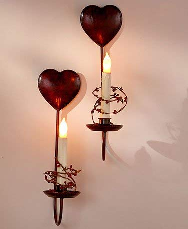 Primitive Country Home Collection - Hearts Set of 2 LED Candle Sconces