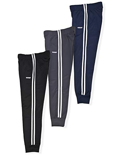 Hind Boys 3-Pack Fleece Jogger Sweatpants for Athletic & Casual Wear (Black-Asphalt-Eclipse, 10-12)