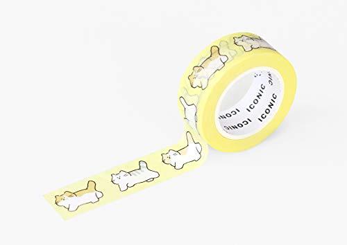【ICONIC DESIGN】アイコニック マスキングテープ 感情 2個セット (050 ネコさんぽ) マステ セット アレンジ 活用 ラッピング イラスト ユニコーン 犬 猫