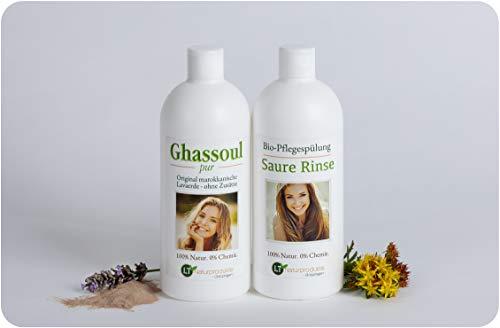Bio-Haarpflegeset mit hochfeiner, original marokkanischer Lavaerde/Ghassoul - sanfte Pflege ohne Chemie: 500ml Wascherde-Fertigmischung PUR, 500ml Saure Rinse im Geschenkpaket/Pflegeset Heilerde