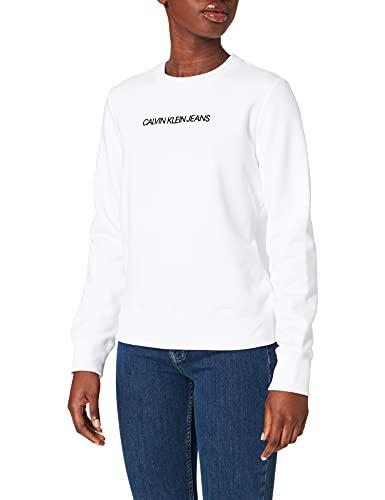Calvin Klein Jeans Damen Shrunken Institutional Crew Neck Sweatshirt, Hellweiß/Schwarz, L