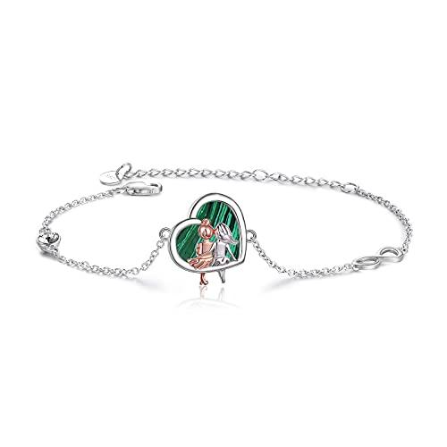 VONALA 925 Sterling Silber Schwester Herz Armband, unendlichkeitszeichen Schmuck Freundschaft Geschenke für Damen Mädchen (Schwester Malachit)