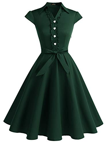 WedTrend Damen 50er Vintage Retro Rockabilly Swing Kleid Kurzer Ärmel Cocktailkleider WTP10007ForestGreenM