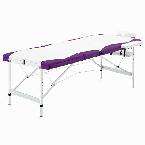 vidaXL Massagetisch Klappbar 3 Zonen mit Tragetasche Therapie Massageliege Massagebank Kosmetikliege Therapieliege Massage Liege Aluminium Weiß Lila