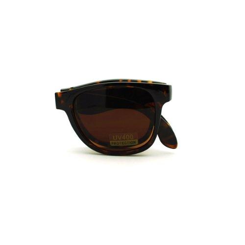 Folding Foldable Sunglasses Classic Square Frame Unisex Fashion Tortoise