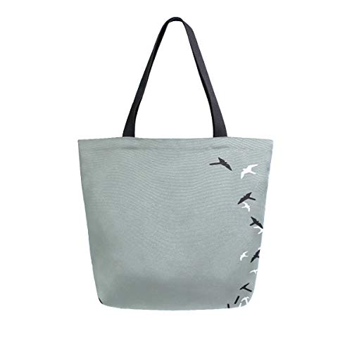 Irud Canvas Tote Bag Cool Piano Key And Bird Casual Shoulder Bag Large for Women Handbag Foocery Cotton Bag Shopping Purse Reusable Handbag for Outdoor
