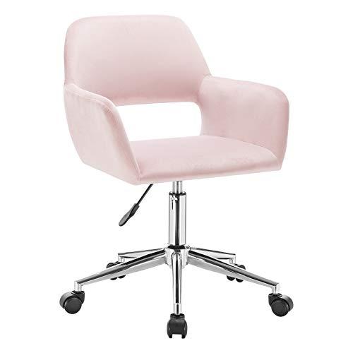 WOLTU 1x Arbeitshocker Bürostuhl Schreibtischstuhl Rollhocker Bürohocker Drehhocker mit Armlehne, stufenlos höhenverstellbar, Samt, Rosa, BS84rs
