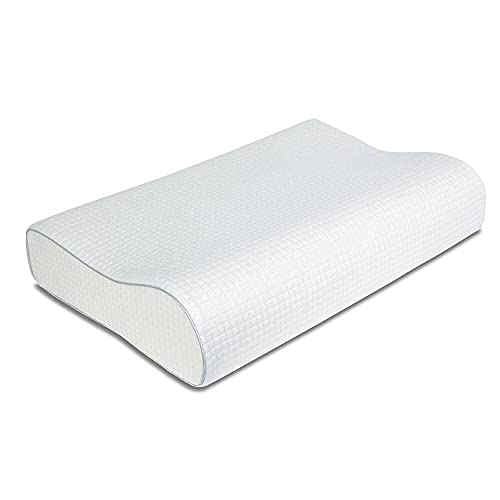 Coolux Memory Foam Pillow - Sleeping Pillow for Back, Stomach, Side Sleepers - Contour Bed Pillows for Neck and Shoulder Pain Relief CertiPUR-US Certified (White, Height: 3.55/4.33 inch)
