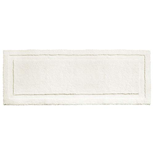 mDesign Soft Microfiber Polyester Non-Slip Extra-Long Spa Mat/Runner, Plush Water Absorbent Accent Rug for Bathroom Vanity, Bathtub/Shower, Machine Washable - 60' x 21' - Ivory