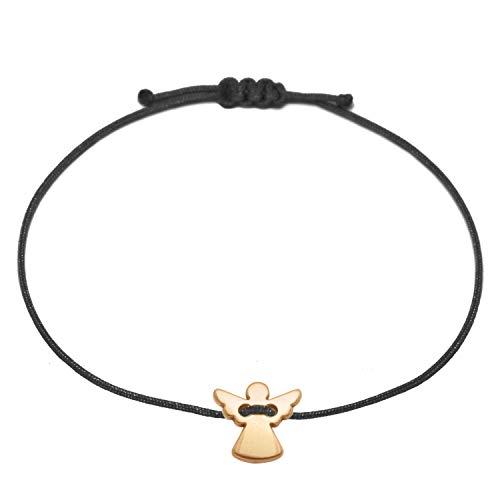 Bracelet avec ange gardien rosedoré -Ruban textile noir avec taille ajustable-Fabriqué à la main - Porte-bonheur