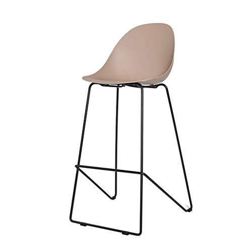 Nordic Plastic barkruk Casual hoge kruk, moderne minimalistische front bureau kassier cafe, PP curve kussen, zwart smeedijzeren frame (multi-kleur optioneel)