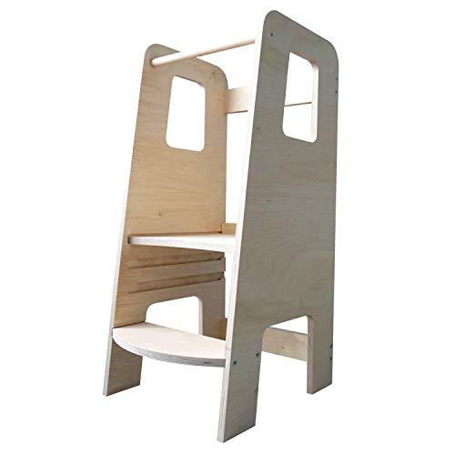 ully Natural by moblì® | Torre de Aprendizaje de madera natural hecha en Italia | Diseñada por educadores especializados en el método Montessori | Torre de aprendizaje con estantes regulables