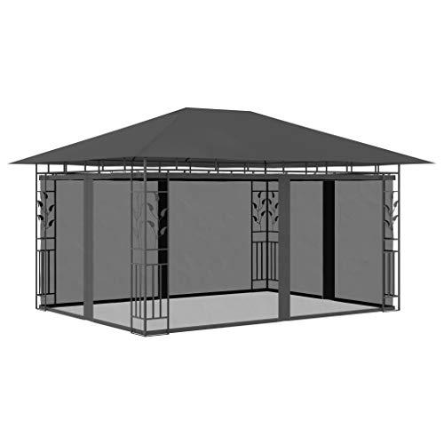 Festnight Gazebo da Giardino con 4 Zanzariere Laterali Gazebo 3x4 m/3x3m 180 g/m² Impermeabile Protezione UV Tenda per Esterno terrazza Bar Piscina Antracite/Crema