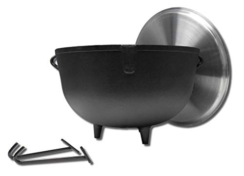 King Kooker 5940 10Gallon Heavy Duty Cast Iron Jambalaya Pot with Feet and Aluminum Lid