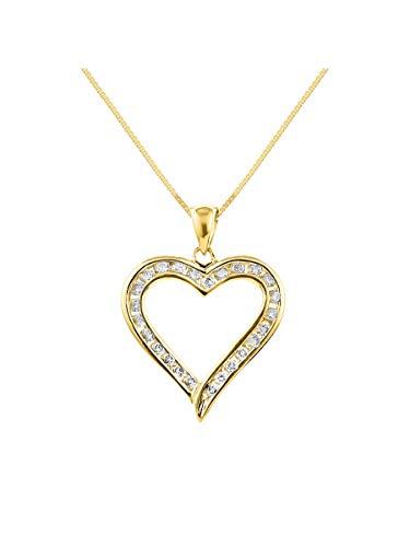 Colgante de corazón de diamante 14K amarillo o 14K oro blanco 1/2CT diamantes Total Peso