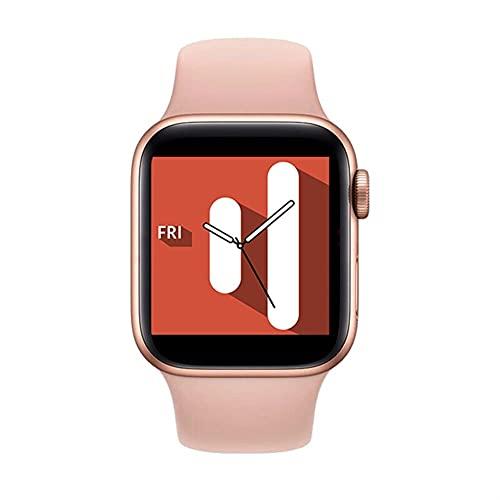 Smart Watch Bluetooth 5.0 Llame a la Temperatura Corporal Tasa del corazón Monitor de sueño Dials Personalizados SmartWatch para Android iOS (Color : Pink)