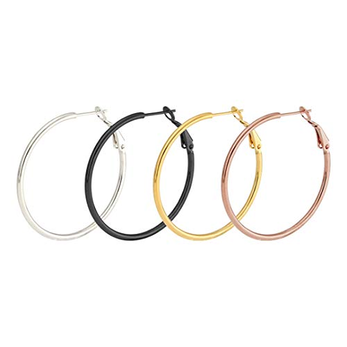 Big Smooth Circles Hoop Earrings For Women Stainless Steel Round Circle Hoop Earring 40mm Rose Gold Color