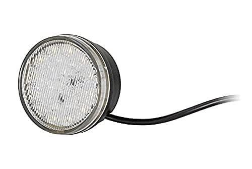 HELLA 2BE 980 691-101 LED-Feu diurne - 12V - rond - Montage encastré - Couleur du voyant: limpide - Couleur LED: jaune/blanc - Câble: 2500mm - avant