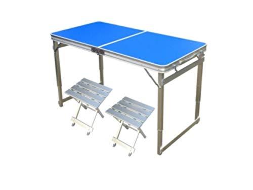 ZRR Mesas Plegables para Exterior Mesas y sillas de Aluminio Mesas portátiles, L120CM Azul 2 tabureteA