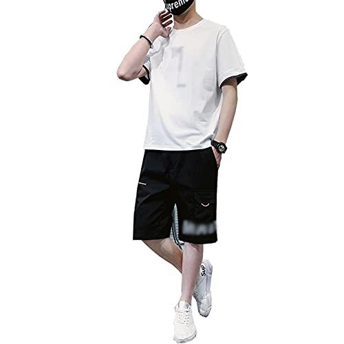 GOLOFEA Camiseta para Hombres y Pantalones Cortos Conjunto de Traje de algodón Traje de Verano Sweachsuit, Conjuntos de 2 Piezas de Verano White-L