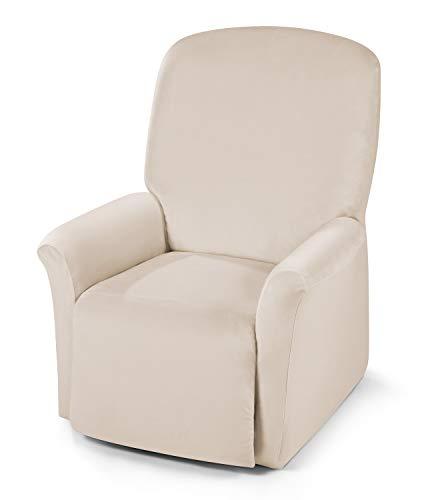 BEAUTEX Maya Samt Sofahusse für Ecksofa, Clubsessel, 1er, 2er, 3er Sitzer, elastische Stretch Husse, Farbe wählbar (Relaxsesselhusse Creme)