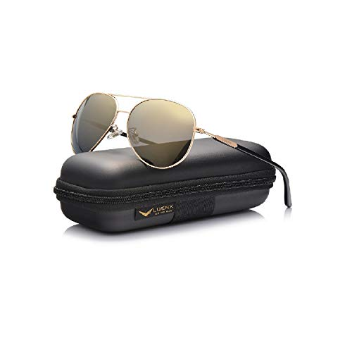 LUENX Aviator Sunglasses Women Men Polarized Mirrored Gold Lens Gold Metal Frame...