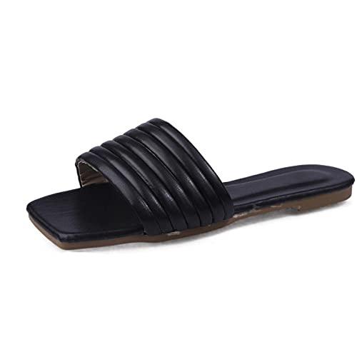 MDCGL Verano Antideslizante Zapatillas Casa Mujeres al Aire Libre Zapatillas Coloridas niñas Descalzo Punta Abierta cómodas Sandalias Casuales Chanclas Zapatos Negro EU41