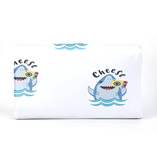 Almohada para niños pequeños con funda de almohada - 17 x 10 pulgadas Almohadas de látex de memoria suave para bebés para dormir Patrón sin costuras de tiburón lindo con cámara fotográfica Vector Lav