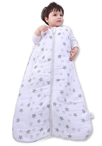 MioRico Schlafsack Baby Ganzjährig 90 cm, Musselin Babyschlafsack aus Bio Baumwolle, Alternativen zum Babydecke, Schlafsack Baby Winter 2.5 TOG für Raumtemperatur 15-22 °C, Baby Schlafsack 1-2 Jahre