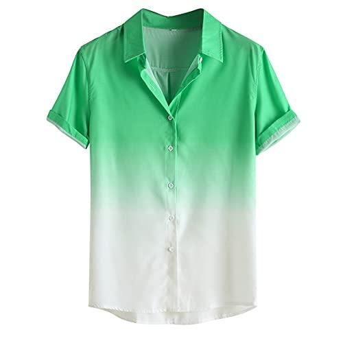 Camisas de Manga Corta de Color de Contraste Degradado para Hombres Moda Simple de Moda Streetwear Camisas Casuales versátiles Verano 3XL